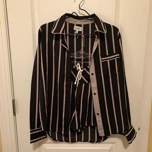 DKNY Striped Silky Pajama Boxer Short Set - Small